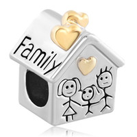 beads family - Large Hole Metal Slide Bead Golden Family House Parents Child European Charm Spacer Fit Pandora Bracelet