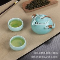 Wholesale Ding matt white clouds tea pot tea set ceramic kung fu tea gift tea sets pale blue