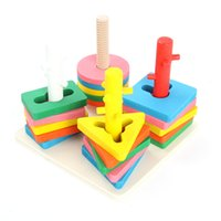 Wholesale Children Kids Preschool Wooden Educational Toys Column Shapes Stacking Game New Arrival