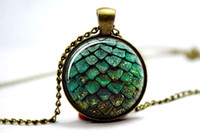 glass pendant - 10pcs Game of thrones green dragon egg glass cabochon dome Pendant necklace