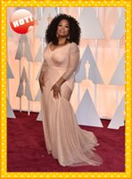 nude dress - 2015 Inspired By Oprah Winfrey The th Oscar Celebrity Dress Nude Plus size Chiffon Ruched Red Carpet Prom Evening Pageant Party Dress Gown