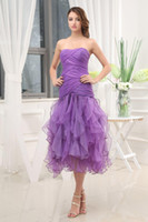 beautiful young women - 2015 New Homecoming Dresses Bateau Neck Strapless A line Tulle Women Dresses Tea Length Beautiful Ruffles Gown For Young Ladies