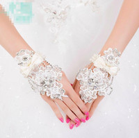 Wholesale Vintage Wedding Bridal Prom Crystal Rhinestone Pearls Beaded White Lace Bow Hand Bracelet Chain Ring Wristband Jewelry Fingerless Gloves