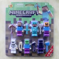 Wholesale Figures Bricks Toy For children Minecraft toys Action Figure Steve Zombie Skeleton Enderman Building Blocks Sets Model Toys