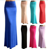 Wholesale 2015 Women Brand New Summer Long Pencil Skirt Elastic Sexy Package Hip Beach Empire High Waist Maxi Skirts Floor Length CW10242