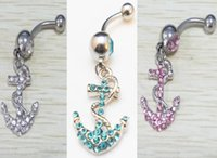 Wholesale Belly Ring Body Piercing Jewelry ANCHOR RHINESTONE STAINLESS GEM BAR Colors for choices