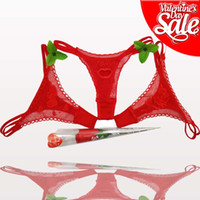 Wholesale Valentine Day gifts hot red transparent lace thongs t back tangas sexy red rose ladies thongs