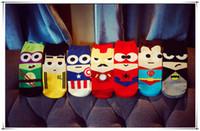 america knits - HOT selling Cartoon Superhero Socks Bruce Lee socks Batman Captain America Superman Spider Man socks Adult socks Cartoon sports socks LA10