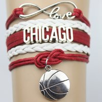 Wholesale Top Quality Infinity Love BULLS basketball Team Bracelet red black Customized Chicago Wristband friendship Bracelets