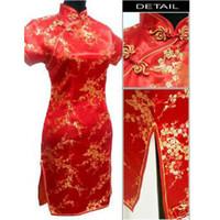 Wholesale Black red Chinese Women s Satin Cheongsam Qipao Mini Evening Dress Size S M L XL XXL XXXL XL XL XL