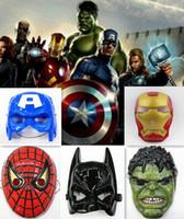 Wholesale 50pcs Environmental Protection Material The Avengers Alliance Spider Man Iron Man Halloween Carnival Mask Hulk Batman captain America t58