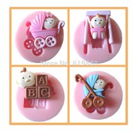 baby carriage mold - Set Baby carriages Shape Silicone Cake Chocolate Mold DIY Cookies Fondant Cupcake Mould N1811
