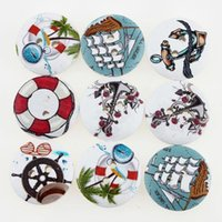 Quilt Accessories Flatback Covered 100pcs set Navigation Wooden Buttons Sewing Buttons Craft Scrapbooking Clothing Accessories DIY Buttons 2 holes 111796