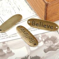 bead cluster necklace - DIY Bracelets Accessories Antiqued Bronze Vintage Alloy Believe Words Necklace Pendant Connector mm