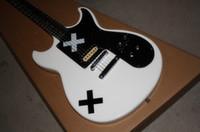 Hot Sale SG Blanc X Noir X motif Touche en palissandre Guitare électrique 6 cordes Guitares EMS Drop Livraison gratuite