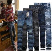 slim fit jeans - 2016 true balmain biker jeans NWT Men s Oiled Waxed men biker jeans slim fit and ripped men brand jeans robin mens ripped