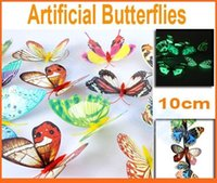 Wholesale hot D artificial butterfly luminous fridge magnet home christmas wedding decoration kid toy