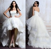 garden angels - 2015 Fashion High Low Beach Wedding Dresses Sweetheart Backless Tiered Tulle with Lace Edge Eden Bridals Angel White Garden Bridal Gown MG03