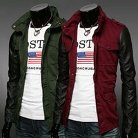 Wholesale New Men s Stylish PU Faux Leather Sleeve Patchwork Casual Hot Sale Casaco Fashion Jacket