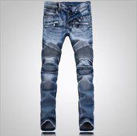 levi - Balmain Men Classic Jeans Skinny Jeans Blue Knee Drape Panel Moto Biker Jeans Fashion Style Pants