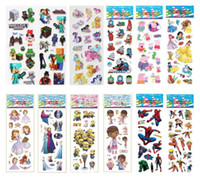 stickers hello kitty - Retail theme Cartoon Puffy stickers toys Frozen patrol dog the Avengers superman sesame street minions childrens wall stickers home deco