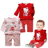 Cheap 6pcs lot 2013 Autumn Long Sleeve Infant Girl Clothes Hello Kitty dot Rompers New Born Christmas baby Overall Kids Clothing Set