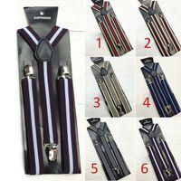 Wholesale 20 pieces New Mens Womens Clip on Suspenders Elastic Y Shape Adjustable Braces Stripe Suspenders