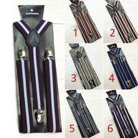 Wholesale 28 pieces New Mens Womens Clip on Suspenders Elastic Y Shape Adjustable Braces Stripe Suspenders