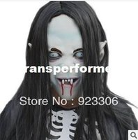 horror masks - Hot novelty Props Artificial hair Rubber caps Halloween witch ghost vendetta Sadako pullover horror masks scary oh really