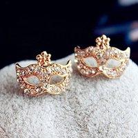 mask earrings - 2015 fashion jewelry double sided studs earrings for women piercings crystal A0107 Korean jewelry super junior Bohemia mask diamond flower e