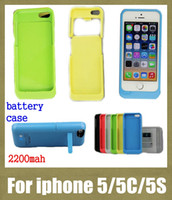 Wholesale Cell Phone Charger Case Wholesale - cell phone case 2200mah battery case for iphone 5s 5c 5 external battery charger case backup portable power bank charger case BAC007