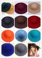Wholesale 12 colors Vintage Women Lady wide brim wool felt bowler fedora hats Floppy Cloche