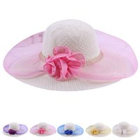 Wholesale Brand new Women Summer Flower Sun Hat Foldable for beach headwear fashion