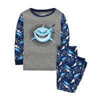 Wholesale Newest Pajamas For Boy Childrens Longe Sleeve Suit With Cruel Shark Cartoon Clothes Autumn Winter Sleepwear Home Clothing For Chrildren
