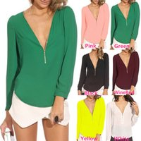 Wholesale Ladies Pink Chiffon Tops - New Arrivals Women Lady Tops Blouse T-Shirts Tees Chiffon V-neck Long Sleeve Sexy Casual Fashion S-2XL DX147 Free Shipping