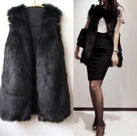 Wholesale 2015 Korean version of the new women s winter fur imitation fox fur vest and long sections fur vest jacket female leather faux fur coat gras
