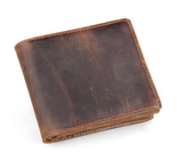 Wholesale Men Genuine Leather Retro Short Bifold Wallet Cowhide Coin Purse Card Holder Money Clips Slim Vintage Design Purse