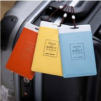 Wholesale 2015 Leather Luggage Tags Travel Paper Suitcase Tag Carrying case Tag Packet Label Wrap Easily recognizable Bag Parts