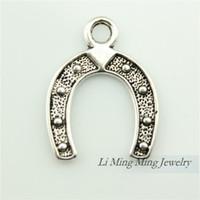 Wholesale 40pcs x18mm Antique Silver Bronze Horseshoe Charm Pendant Fit Bracelet Necklace DIY Metal Jewelry Making