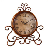 antique garden tables - Annabel American retro clock wrought iron garden European style table clock desk clock sit clock creative living room watch