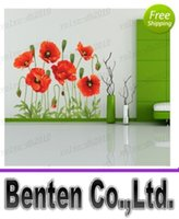 Wholesale RED POPPY Removable Wall Decals Home Decor Art Flower Vinyl Mural Wall Stickers LLFA3212F