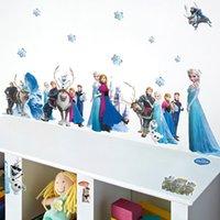 Wholesale Hot sale Cartoon D Wall Stickers Frozen wall Stickers Kids room decoration Frozen Snow Queen Elsa Wall Decal Stickers LJJD1094
