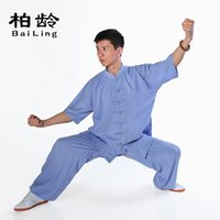 arts jin - Parkland new summer cotton short sleeved clothes Jin Tai chi clothing male sweat boxing martial arts clothing Ms
