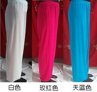 Wholesale The summer ice silk pants pants Tai Chi Tai Chi Martial Arts exercise training pants pants men and women