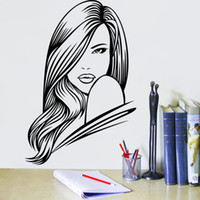 Wholesale Sexy Woman Wall Decal - 57*84cm SEXY WOMAN SALON HAIR BEAUTY WALL ART STICKER DECAL
