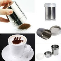 Wholesale tainless Steel Chocolate Shaker Cocoa Flour Salt Powder Icing Sugar Cappuccino Coffee Sifter Lid Hot Sale Cooking Tools