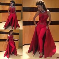 women ruffle pants - 2015 Myriam Fares Dresses Red Two Pieces Pants Formal Gowns Illusion Neckline Appliques Slim Fit Fashion Women Prom Dresses