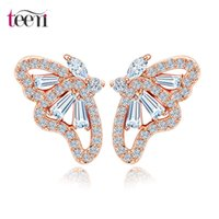 Wholesale Teemi Korean Style Jewelry K Rose Gold Plating Girls Birthday Christmas Gift Cute Crystal Zircon Butterfly Earings for Women