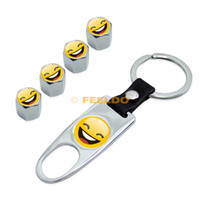 abs metal logo - High quality Cool Chrome Car Tire Wheel Steam Valve Cap Leather Wrench Keychain For Mixed LOGOs