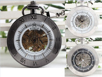 antique white frames - 6pcs Mixture Steampunk Half Hunter Silver Frame Skeleton Mechanical Pocket Watch Chain Men Fashion White Black Dial Wind Up Pendant Watches